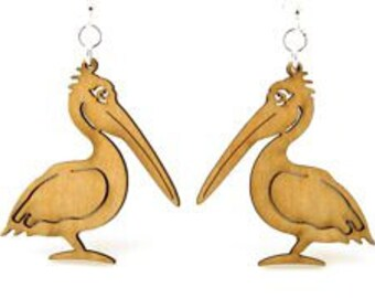 Pelican - Wood Earrings