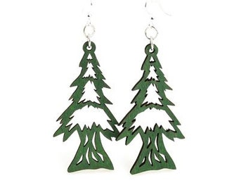 Pine Tree - Laser Cut Earrings from Reforested Wood