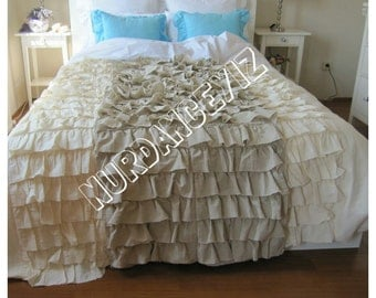 Tier Ruffle Bedding Queen King linen duvet cover waterfall ruffle -bed linen- French country home - custom shabby chic bedding Nurdanceyiz
