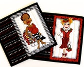 Quilted Mug Rug  Black White Red  Quilters Gift  Set of 2 Quilts  Sewing Women Valentines Day Gift