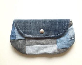 denim blue patchwork cosmetic bag - blue jeans pouch - soft patchwork denim case - toiletry bag - patchwork jeans glasses pouch gift for her