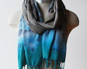 Shibori dyed shawl, fringed scarf, bamboo scarf, blue brown print scarf