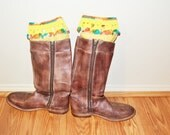 Boot Cuffs, Multicolor Crochet Toppers, Boot Socks, Faux Leg Warmers, Stretchy, Made in the USA,