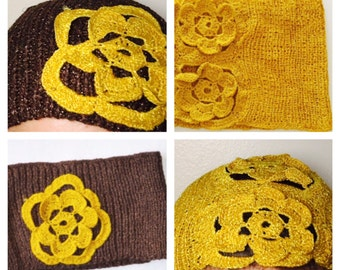 Knitted Head Band, choose one, Romantic, Floral Design, Woman, Vintage Inspired, Made in the U S A, Item No. DeBg10