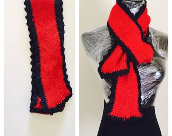 Long Unisex Scarf, Red Metallic Black, Hand Made in the USA, Item No. BDE005