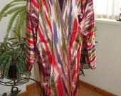 Uzbek women's dress vintage  colorful soft  viscose     ikat atlas chapan robe l size very beautiful rare color reserved
