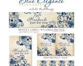 Blue Elegance Tags for Crochet, Knit, Handmade Items