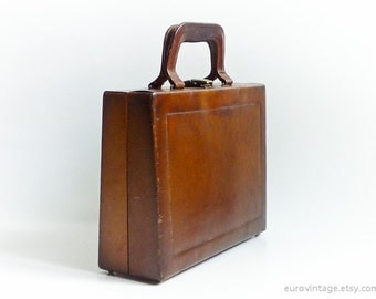 Vintage Antique Leather Handbag Leather Beauty Case Bag