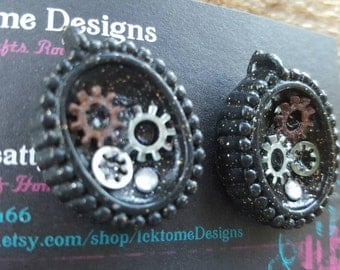 Steampunk Cameo with Gears Post Earrings