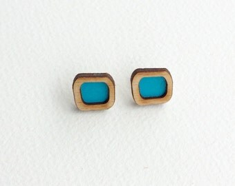 Turquoise wooden square stud earrings