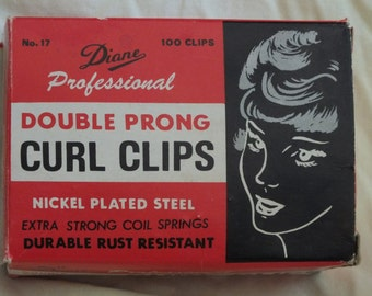Diane Professional Double Prong Curl Clips, in the original box, Nickel Plated Steel with extra strong coil springs, No. 17