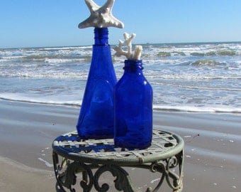 Set of Two Vintage Antique Blue Bottles with Starfish and Coral