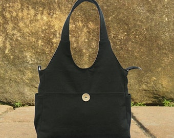 Black canvas tote bag, diaper bag, hand bag, shoulder bag, canvas messenger bag