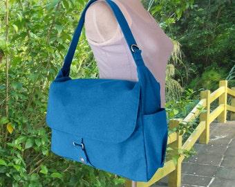 blue diaper bag, messenger bag, crossbody bag, shoulder bag, tote bag for girls