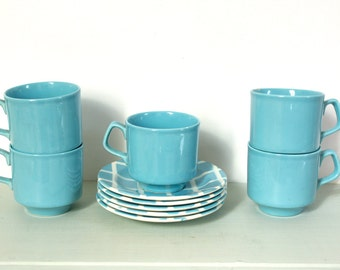 CLOSING DOWN SALE - 50% Off Vintage Retro Teaset in Sky Blue Check Pattern by Tams of England