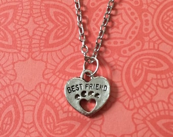 Best friend paw print necklace