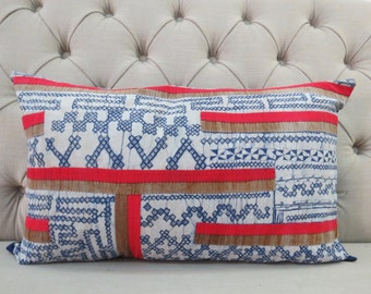Vintage Style batik, Hmong cushion cover, Cotton Fabric,Scatter cushions,Throw Pillow,Decorative Pillows