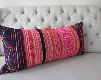Bolster Cushions, 16x32, Pillow case, Vintage Hmong Batik Cotton cushion cover, Handprinted Fabric,Scatter cushions,