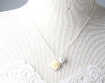 Yellow Flower girl necklace, Yellow rose necklace, yellow girl necklace, flowergirl jewelry, yellow girl necklace, yellow wedding