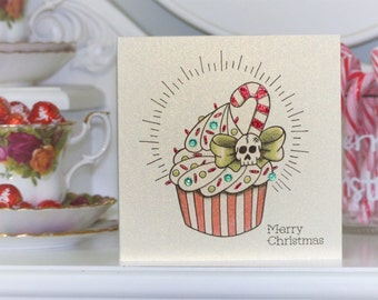 Candy Cane & Skull Cupcake Tattoo Alternative Christmas Card