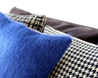 Fur textured blue pillow: cobalt blue throw pillow in luxurious silk alpaca mix, modern decorative fur texture pillow cover