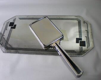 Vintage Art Deco Dresser Vanity Set with Mirror Tray