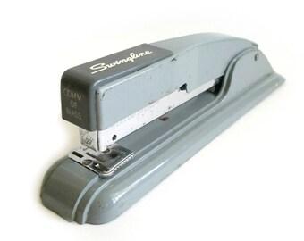 Vintage Swingline Stapler, Gray Grey Industrial Stapler, Art Deco Era, Desk Accessories, Office Decor, Commonwealth of MA, 1940s, 1950s