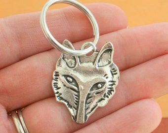 The FOX Keychain...silver. antique silver charm. fox jewelry. animal. foxy. furry. retro. kitsch. boho. metal. urban. hipster. hippie.