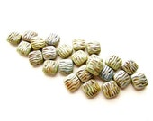 24 Sage Luster Picasso Carved Square Beads- Opaque Glass