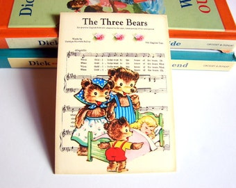 Small Ready to Frame Print - The Three Bears Goldilocks Mother Goose Fairy Tale Nursery Rhyme Sheet Music Baby Toddler Kids Room Home Decor