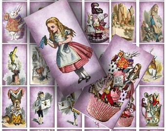 printable Alice in wonderland collage sheet dominoes tiles 1x2 inch craft project scrapbooking sheet