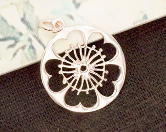 1 of 925 Sterling Silver Rose Gold Vermeil Style Disc with Flower Cutout Charm 19 mm.  :pg0175