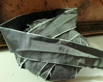 6 Yards GREEN STEEL SUPREME Silk Hand Dyed Ribbon