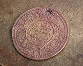 Antique brass pendant, charm, medal