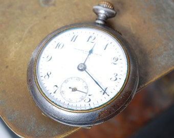 Antique pocket watch, Swiss made mechanical watch George Favre Jacot Locle