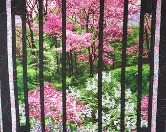 Quilted Wall Hanging - Spring Floral Landscape with Black Trim and Cherry Blossom border and binding