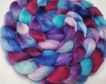 Polwarth/Yearling Mohair/Silk Roving - 65/25/10 - 4 oz - Hand Dyed - Turquoise, Purple, Sapphire Blue, Light Pink and Bright Raspberry