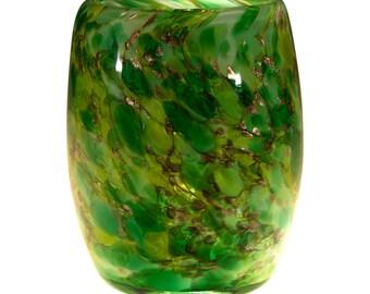 "Votive Candle Holder.   Hand Blown Art Glass in Green.   ""Emerald City"".  Made in Seattle.  Artist Dehanna Jones."