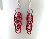 Long Chainmaille Earrings - Earrings for Sensitive Ears - Red and Silver Chainmaille Earrings - Shaggy Loops Chainmaille Earrings - Handmade