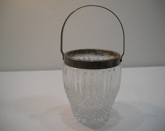 Vintage Crystal Diamond Pattern Cut Glass Ice Bucket With Silver Plate Rim & Handle