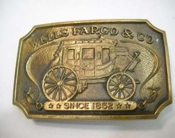 Vintage Wells Fargo & Co. Belt Buckle 1973 Free Shipping