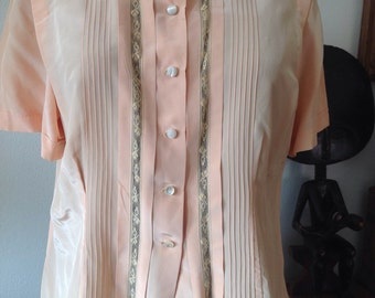 Ell Fay Vintage Woman's Peach Blouse Size Large