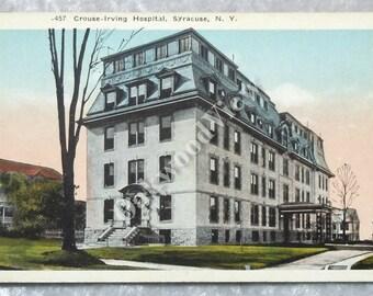 Syracuse NY Crouse Irving Hospital Postcard, Antique Ephemera c1920s, University Hill, New York State, FREE SHIPPING
