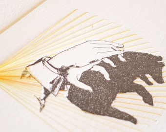 Letterpress hand shadow puppet print stitching, textile art, hand stitched, mixed media wall art, very limited edition BEAR