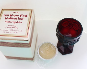 Vintage 1976 Signed Avon Cape Cod 1876 Collection Ruby Red Sandwich Lace Pattern Glass Water Goblet with Votive Candle in Original Box NIB
