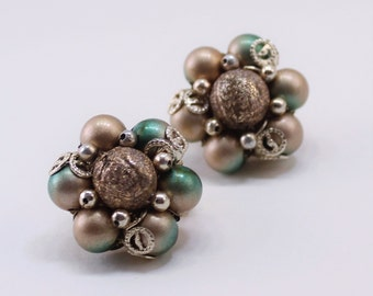 Vintage Signed Japan Gold Tone Frosted Metallic Foil Two Tone Green Filigree Beaded Cluster Boho Clip On Earrings