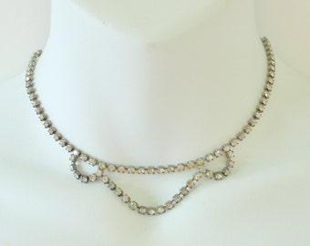 Vintage 50s Silvertone Prong Set Clear Crystal Rhinestone Silver Tone Wedding Bridal Mid Century Hollywood Regency Bib Necklace
