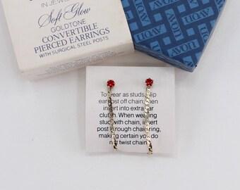 Vintage Signed Avon Soft Glow Goldtone Convertible Ruby Red Rhinestone Stud Chain Hoop Loop Gold Tone Pierced Earrings in Original Box NIB