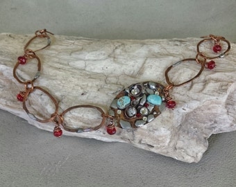 Hammered Copper Turquoise  and Red Glass Beads