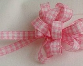 "Pink Gingham  Ribbon ... 1/4"" X 5 yards"